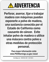 Raw Wood Product Exposure Spanish Prop 65 Warning