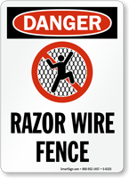 Razor Wire Fence OSHA Danger Sign