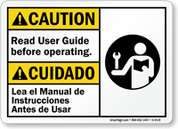 Read User Guide Before Operating Sign