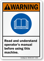 Read And Understand Operator's Manual Warning Sign