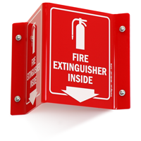 Fire Extinguisher Inside Sign with Down Arrow