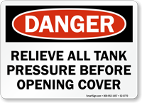 Relieve Tank Pressure Before Opening Cover Sign