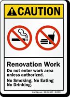 Renovation Work No Smoking Eating ANSI Caution Sign
