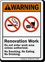 Renovation Work Do Not Enter ANSI Warning Sign