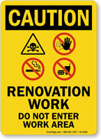 Renovation Work Area OSHA Caution Sign