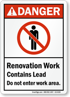 Danger Renovation Work Contains Lead Sign Sku S2 0159