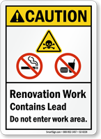 Contains Lead Do Not Enter ANSI Caution Sign