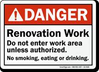Renovation Work No Smoking, Eating Or Drinking Danger Sign