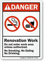 Renovation Work, Do Not Enter Work Area Sign