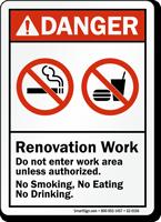 Renovation Work, Do Not Enter Work Area Sign
