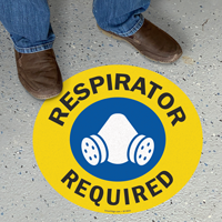 Respirator Required Anti-Skid Floor Sign