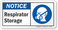 Respirator Storage Notice Sign