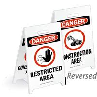 Danger Restricted Area Reversible Fold-Ups Floor Sign