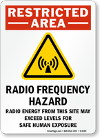 Restricted Area Radio Frequency Hazard Sign