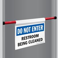 Restroom Being Cleaned Door Barricade Sign