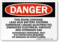 Room Contains Lead Acid Battery Systems Sign