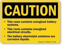 Room Contains Energized Battery Systems Sign