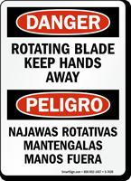 Rotating Blade Keep Hands Away Bilingual Sign