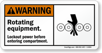 Rotating Equipment, Lockout Power Before Entering Compartment Sign