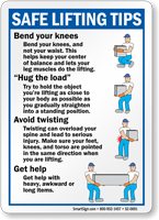 Safe Lifting Tips, Bend Knees Hug Load Sign