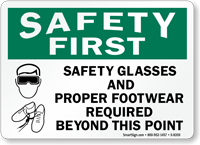 Safety Glasses Footwear Required Sign