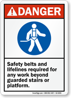 Safety Belts And Lifelines Required ANSI Danger Sign