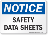 Safety Data Sheets OSHA Notice Sign
