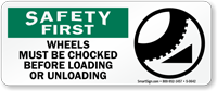 Safety First: Wheels Must Be Chocked Sign
