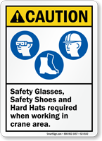 Safety Glasses, Safety Shoes Hard Hats Required caution Sign