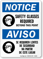 Notice Safety Glasses Required Bilingual Sign