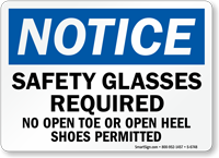 Safety Glasses Required OSHA Notice Sign