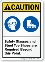 Safety Glasses Steel Toe Shoes Required Caution Sign