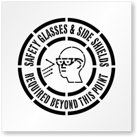 Safety Glasses & Side Shields Required Floor Stencil