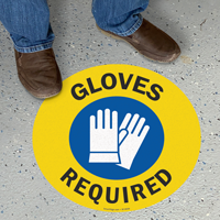 Safety Gloves Required SlipSafe Floor Sign
