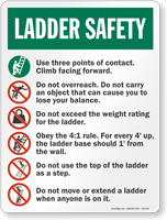 Safety Instructions Ladder Safety Sign