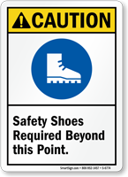 Safety Shoes Required Beyond This Point Caution Sign