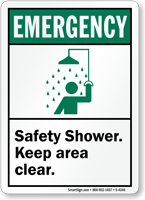 Emergency (ANSI) Safety Shower Keep Clear Sign