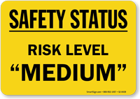 "Safety Status Risk Level ""MEDIUM"" Magnetic Signs"