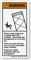 Before Using, Taking Down Scaffold Warning Sign
