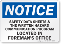 Safety Data Sheets Located In Office OSHA Notice Sign