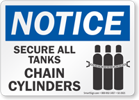 Secure All Tanks Chain Cylinders OSHA Notice Sign