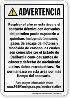 Service Station Exposure Spanish Prop 65 Sign