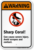 Sharp Coral! Can cause severe injury Sign