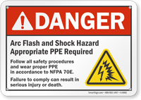 Arc Flash And Shock Hazard Appropriate Ppe Required Sign