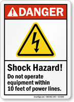 Shock Hazard, Do Not Operate Equipment ANSI Danger Sign