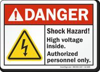 Shock Hazard High Voltage Inside ANSI Danger Sign