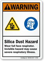 Silica Dust Hazard Wear Full Face Respirator Sign
