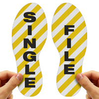 Single File Footprints Floor Marker With Stripes