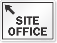 Site Office With Up Arrow Pointing Left Sign