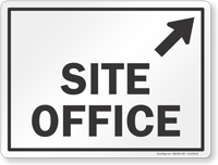 Site Office With Up Arrow Pointing Right Sign